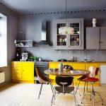 mobila bucatarie galben-gri